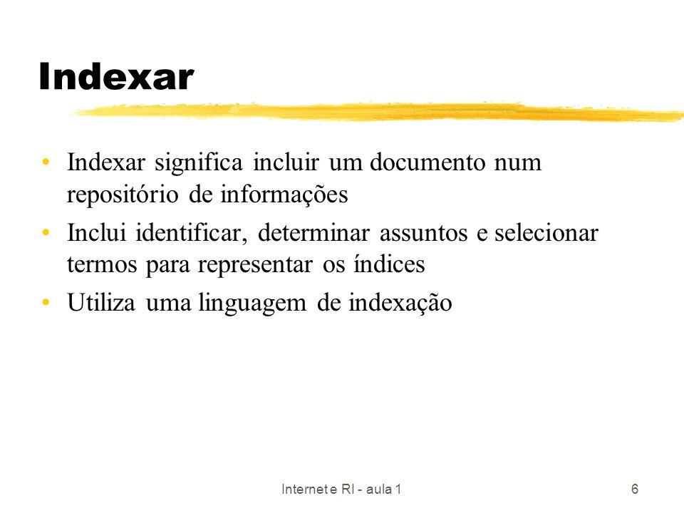 Indexar Indexar significa incluir um documento num repositório de informações.