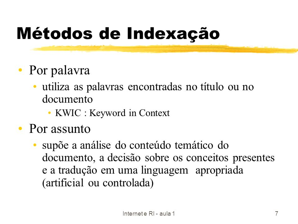 Métodos de Indexação Por palavra Por assunto