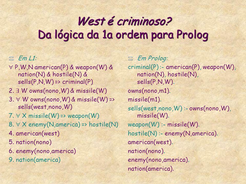 West é criminoso Da lógica da 1a ordem para Prolog