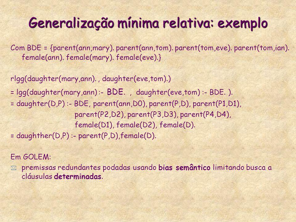 Generalização mínima relativa: exemplo