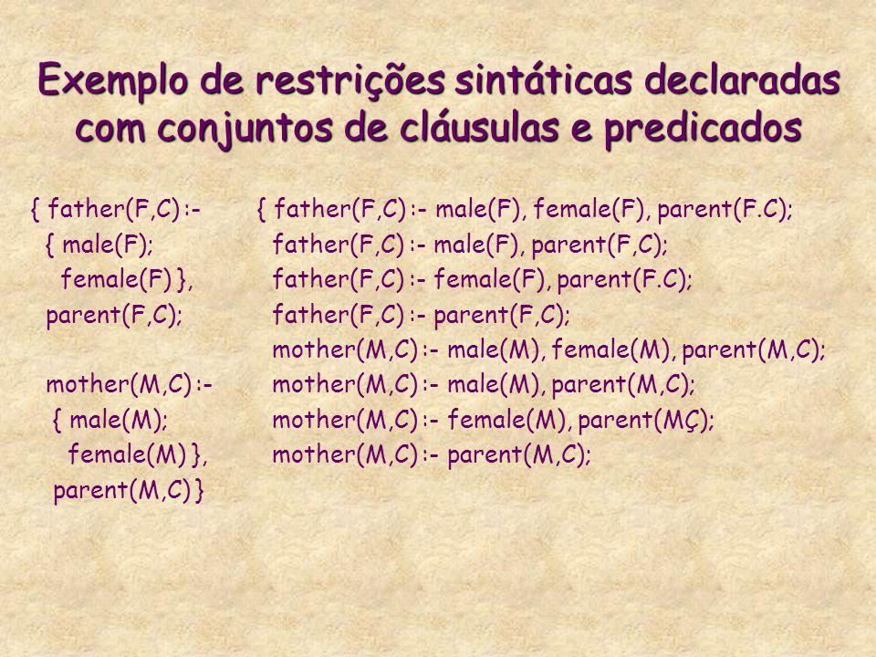 Exemplo de restrições sintáticas declaradas com conjuntos de cláusulas e predicados