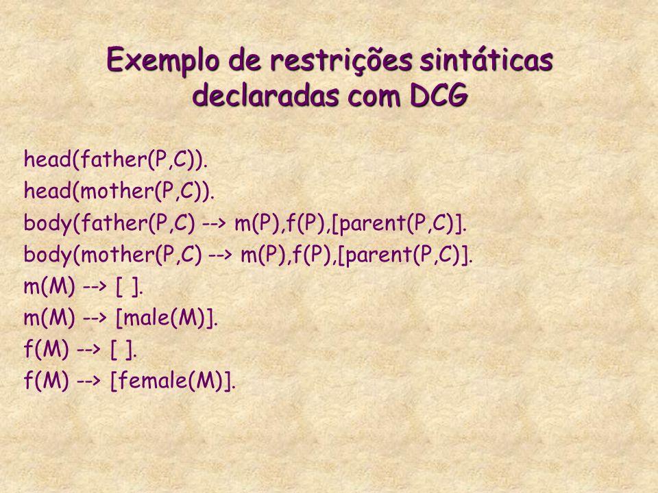 Exemplo de restrições sintáticas declaradas com DCG