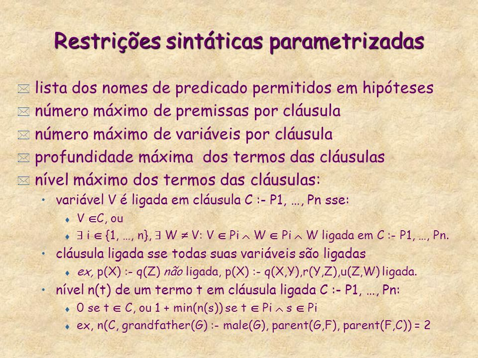 Restrições sintáticas parametrizadas