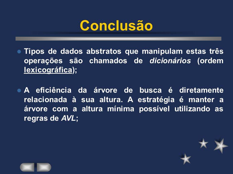 Conclusão Tipos de dados abstratos que manipulam estas três operações são chamados de dicionários (ordem lexicográfica);