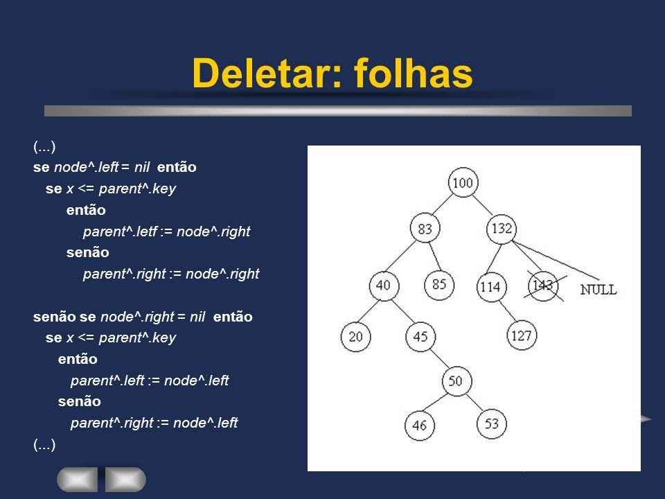 Deletar: folhas (...) se node^.left = nil então se x <= parent^.key