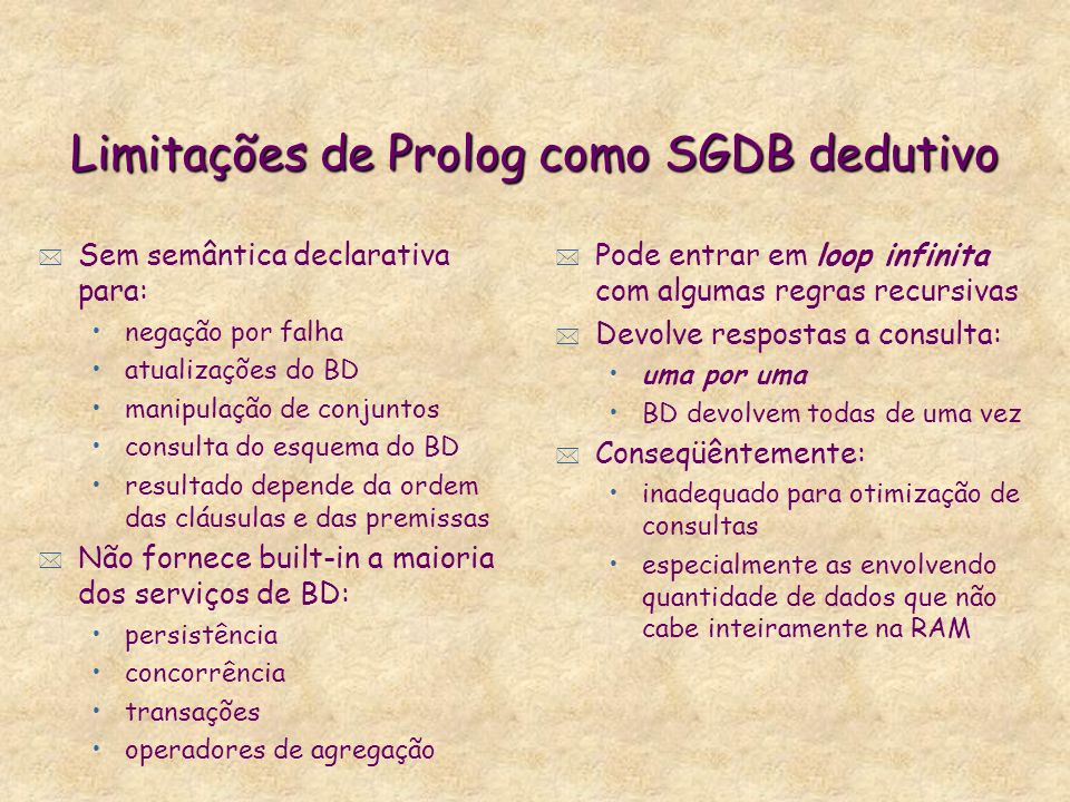 Limitações de Prolog como SGDB dedutivo