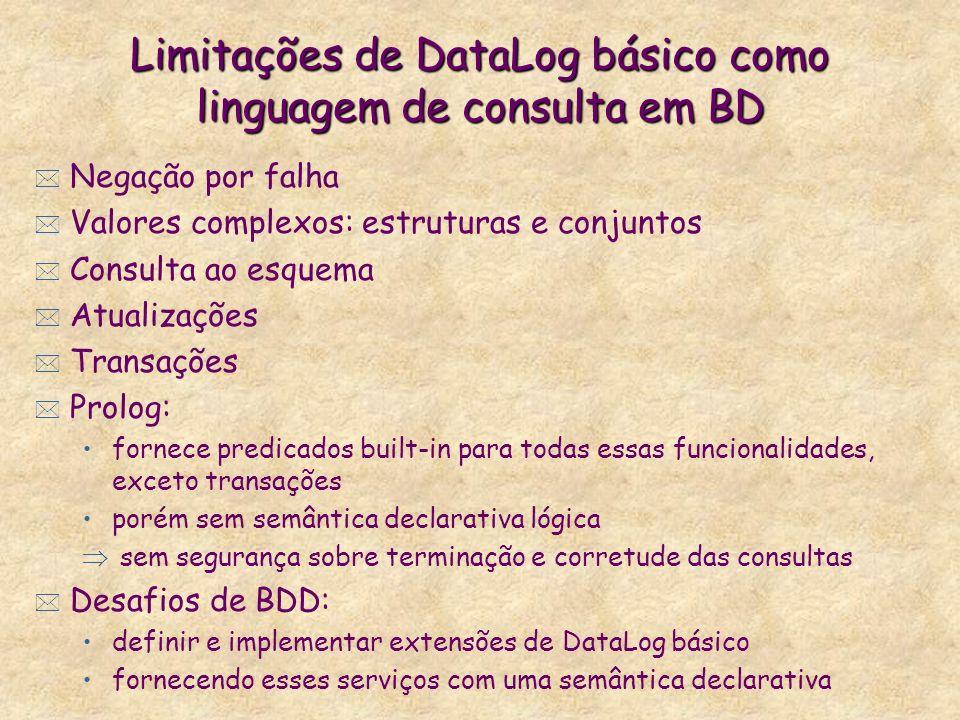 Limitações de DataLog básico como linguagem de consulta em BD