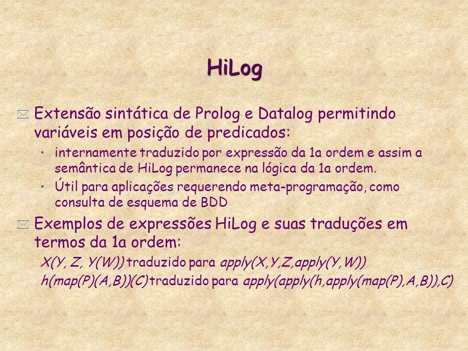 HiLog Extensão sintática de Prolog e Datalog permitindo variáveis em posição de predicados: