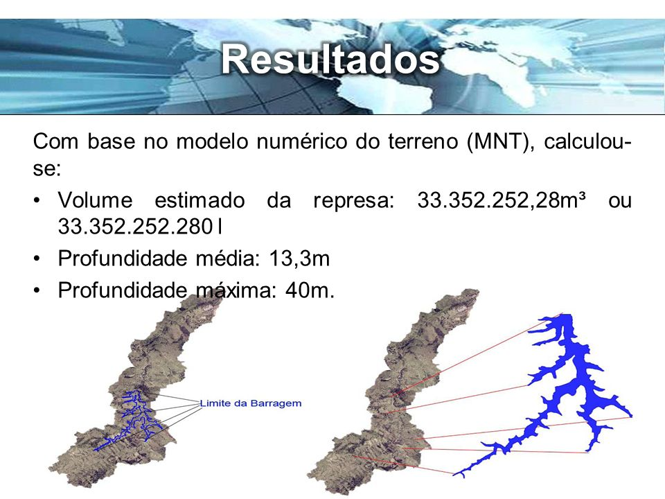 Resultados Com base no modelo numérico do terreno (MNT), calculou-se: