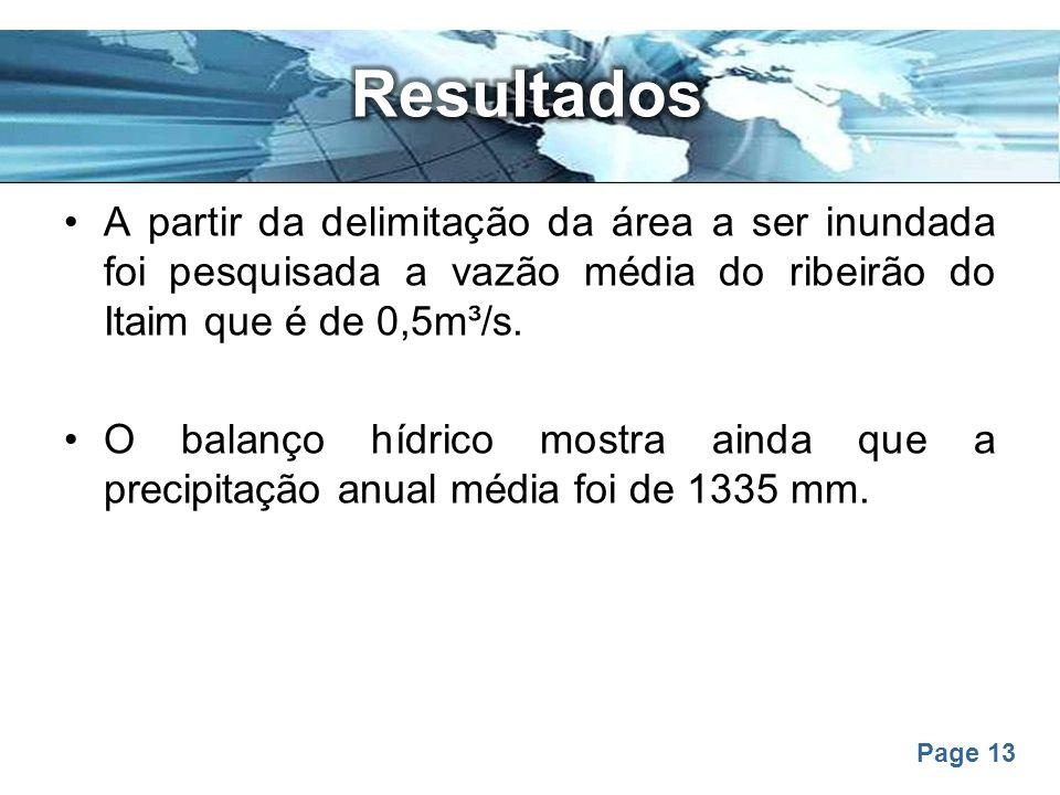 Resultados A partir da delimitação da área a ser inundada foi pesquisada a vazão média do ribeirão do Itaim que é de 0,5m³/s.