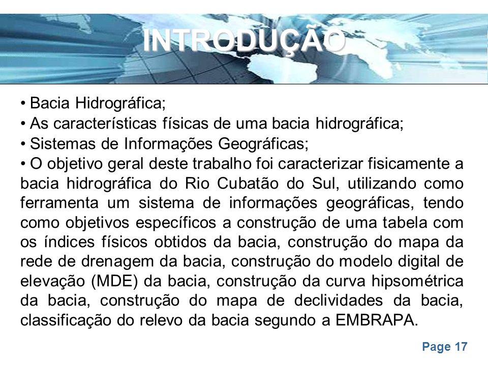 INTRODUÇÃO Bacia Hidrográfica;