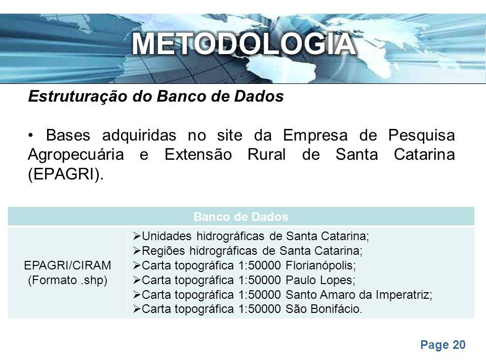 METODOLOGIA Estruturação do Banco de Dados