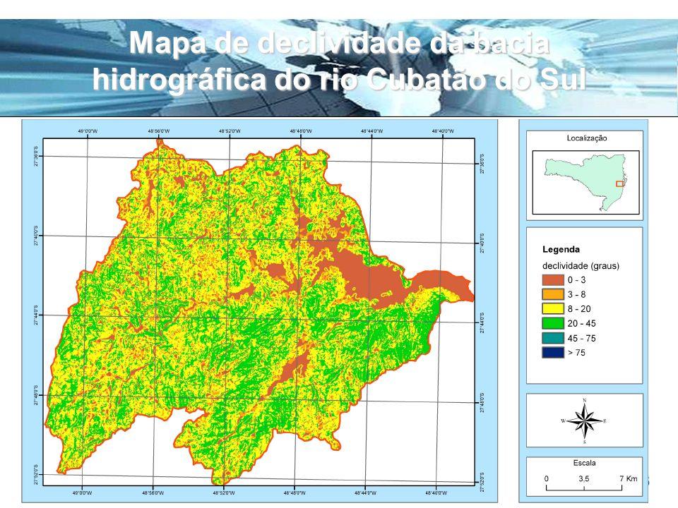 Mapa de declividade da bacia hidrográfica do rio Cubatão do Sul