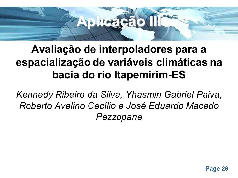 Aplicação III Avaliação de interpoladores para a espacialização de variáveis climáticas na bacia do rio Itapemirim-ES.