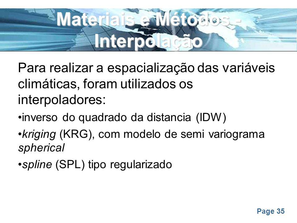 Materiais e Métodos - Interpolação