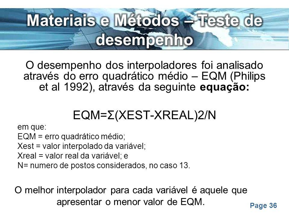 Materiais e Métodos – Teste de desempenho