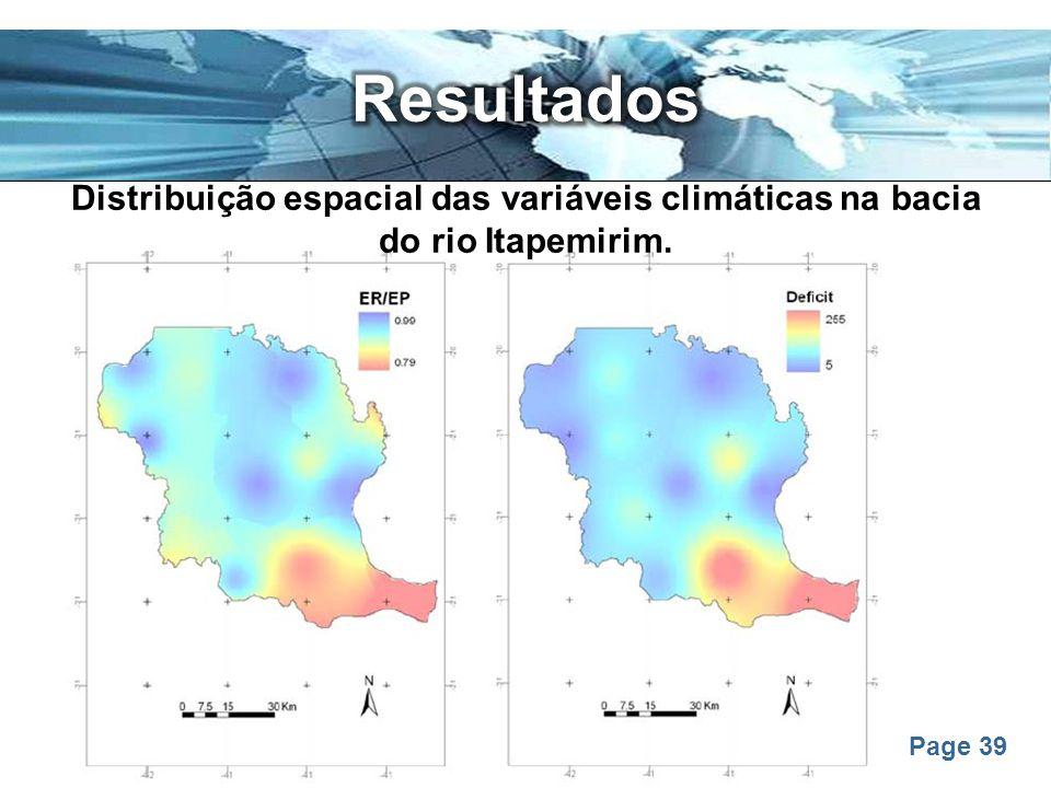 Resultados Distribuição espacial das variáveis climáticas na bacia do rio Itapemirim.
