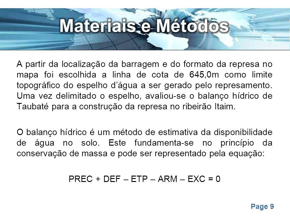 PREC + DEF – ETP – ARM – EXC = 0