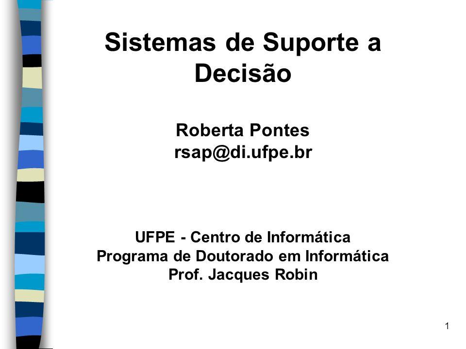 Sistemas de Suporte a Decisão Roberta Pontes