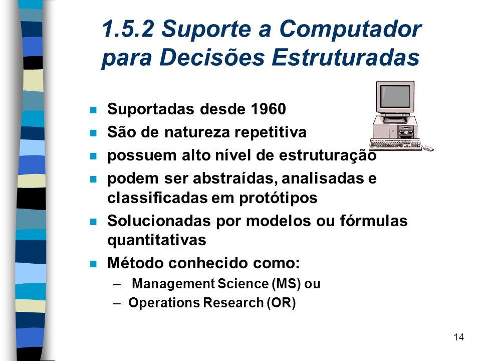 1.5.2 Suporte a Computador para Decisões Estruturadas
