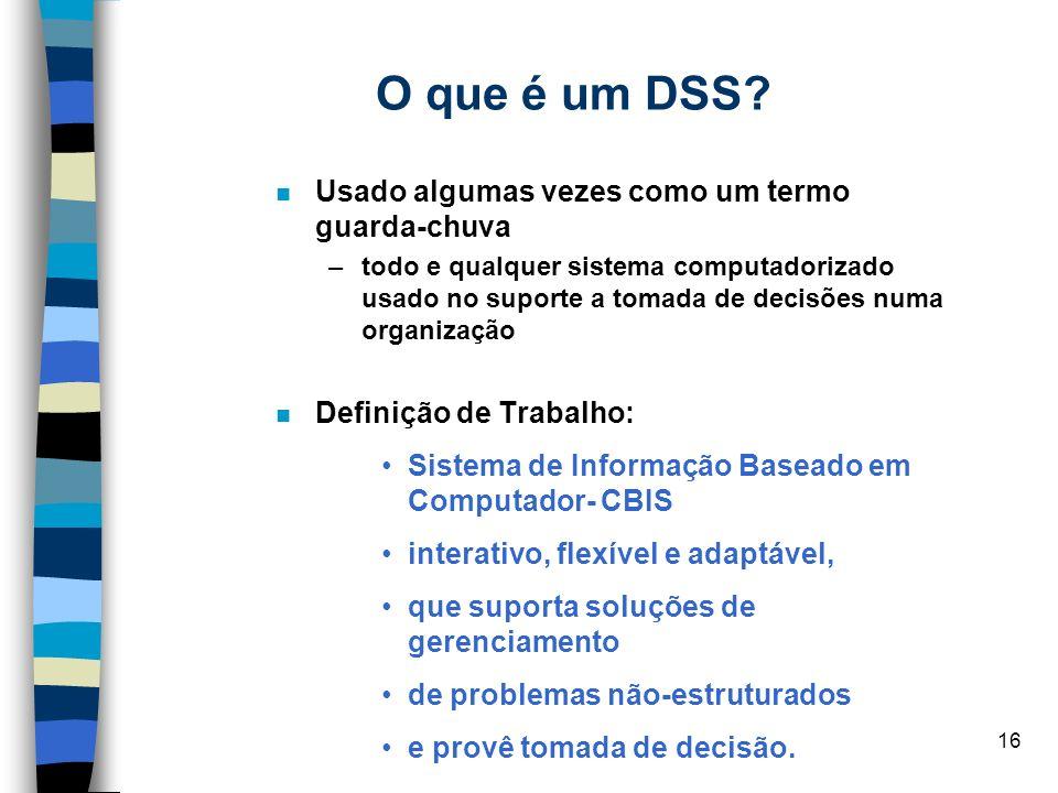 O que é um DSS Usado algumas vezes como um termo guarda-chuva