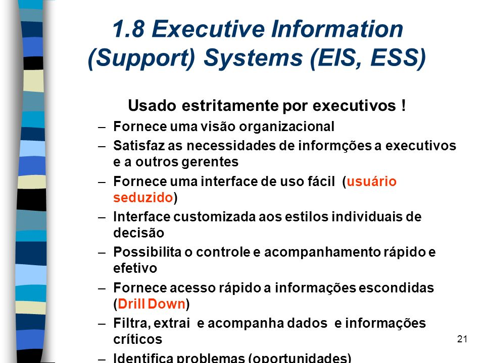 1.8 Executive Information (Support) Systems (EIS, ESS)