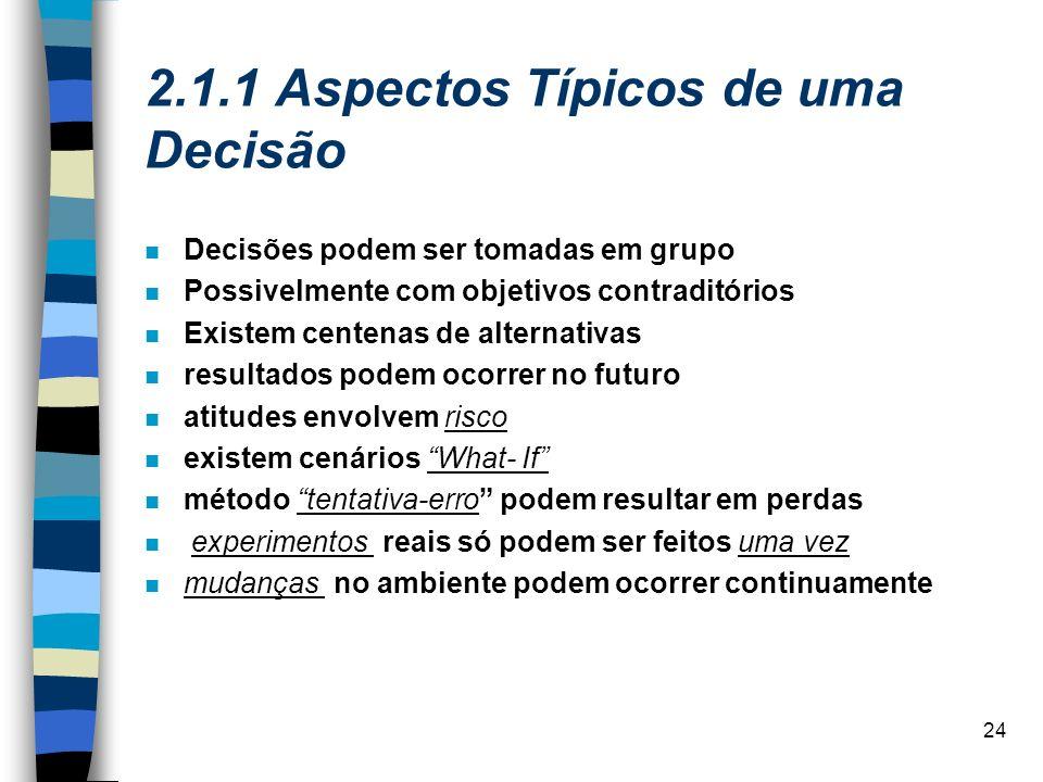 2.1.1 Aspectos Típicos de uma Decisão