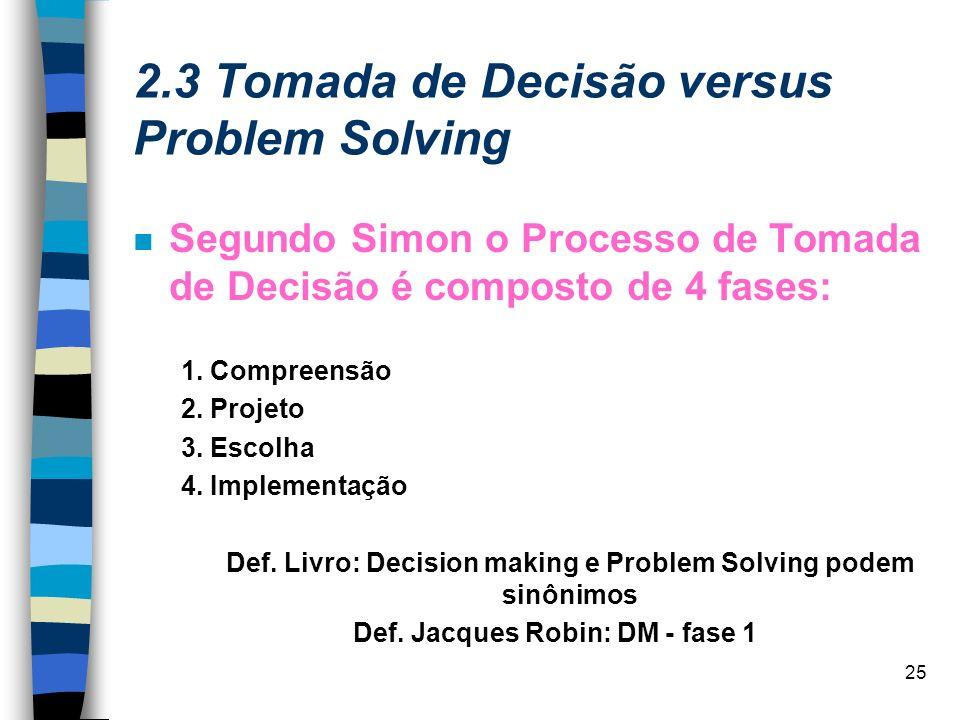 2.3 Tomada de Decisão versus Problem Solving