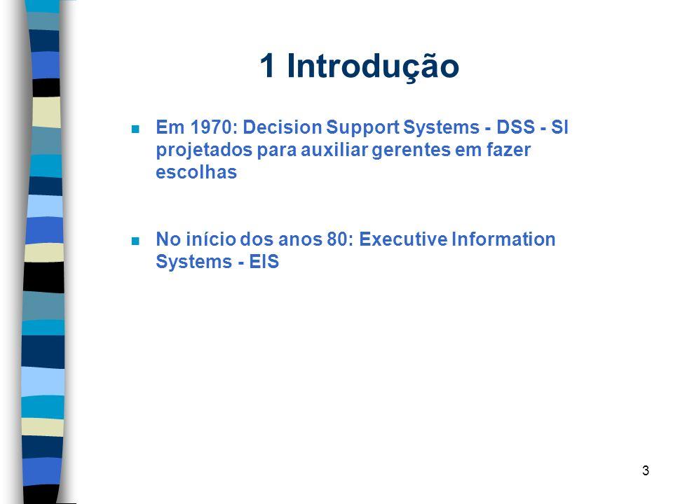 1 Introdução Em 1970: Decision Support Systems - DSS - SI projetados para auxiliar gerentes em fazer escolhas.
