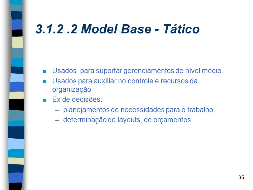 3.1.2 .2 Model Base - Tático Usados para suportar gerenciamentos de nível médio. Usados para auxiliar no controle e recursos da organização.