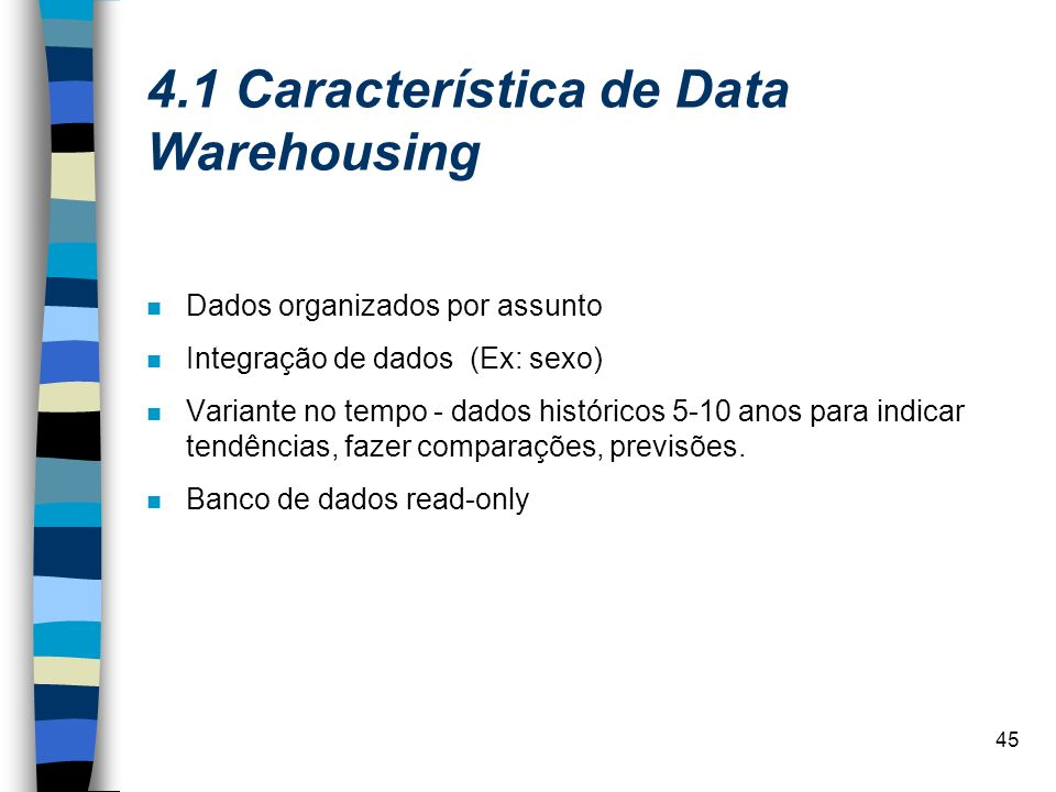 4.1 Característica de Data Warehousing