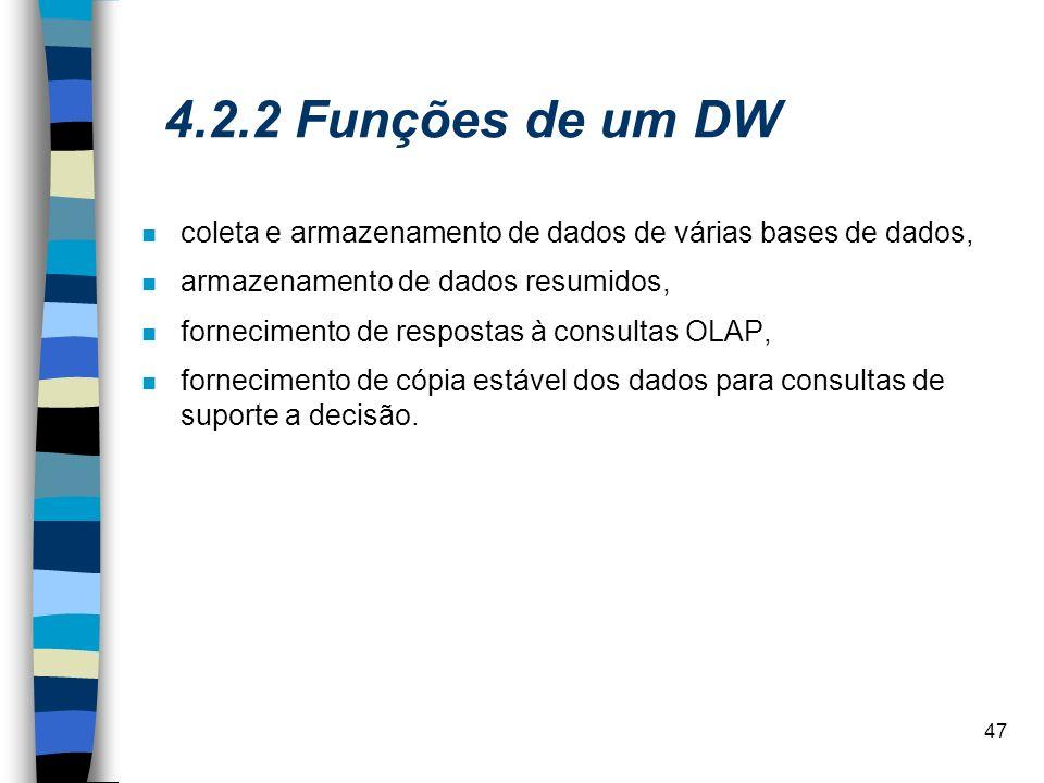 4.2.2 Funções de um DW coleta e armazenamento de dados de várias bases de dados, armazenamento de dados resumidos,