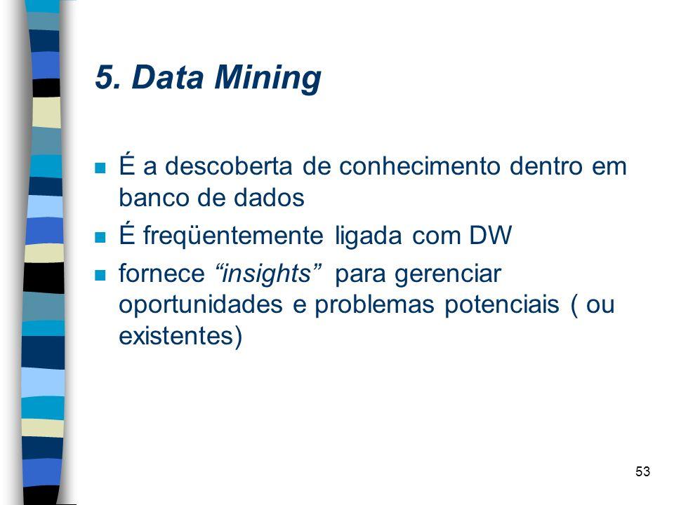5. Data Mining É a descoberta de conhecimento dentro em banco de dados