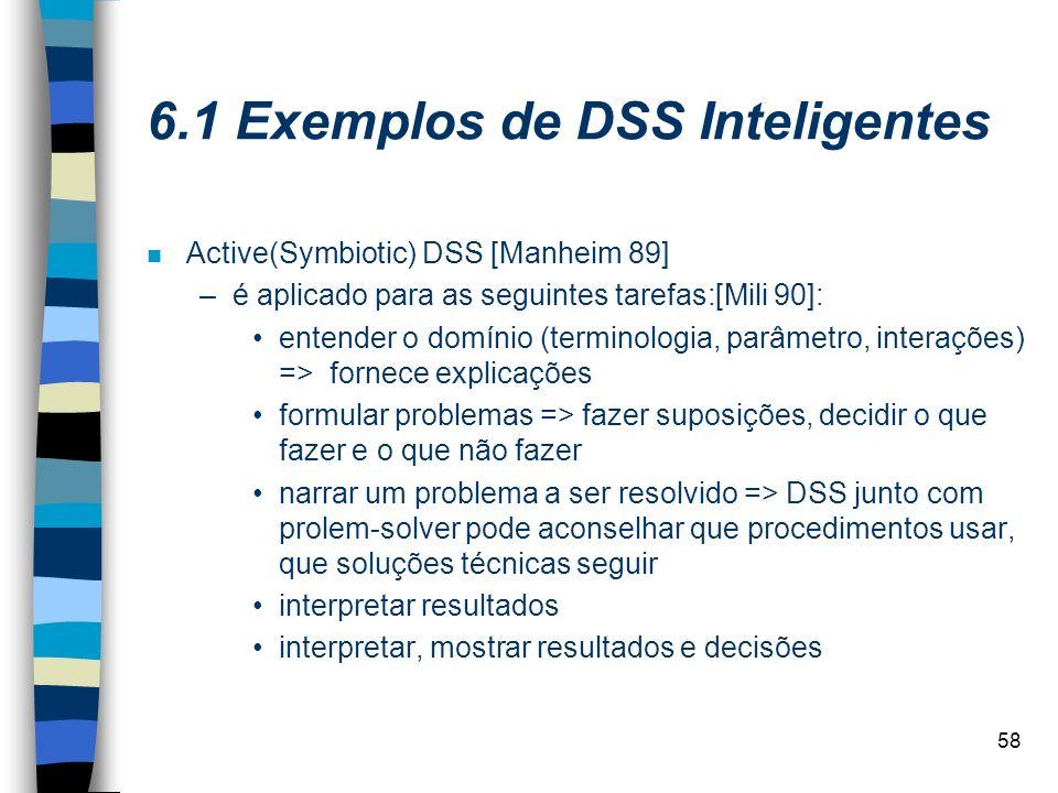 6.1 Exemplos de DSS Inteligentes