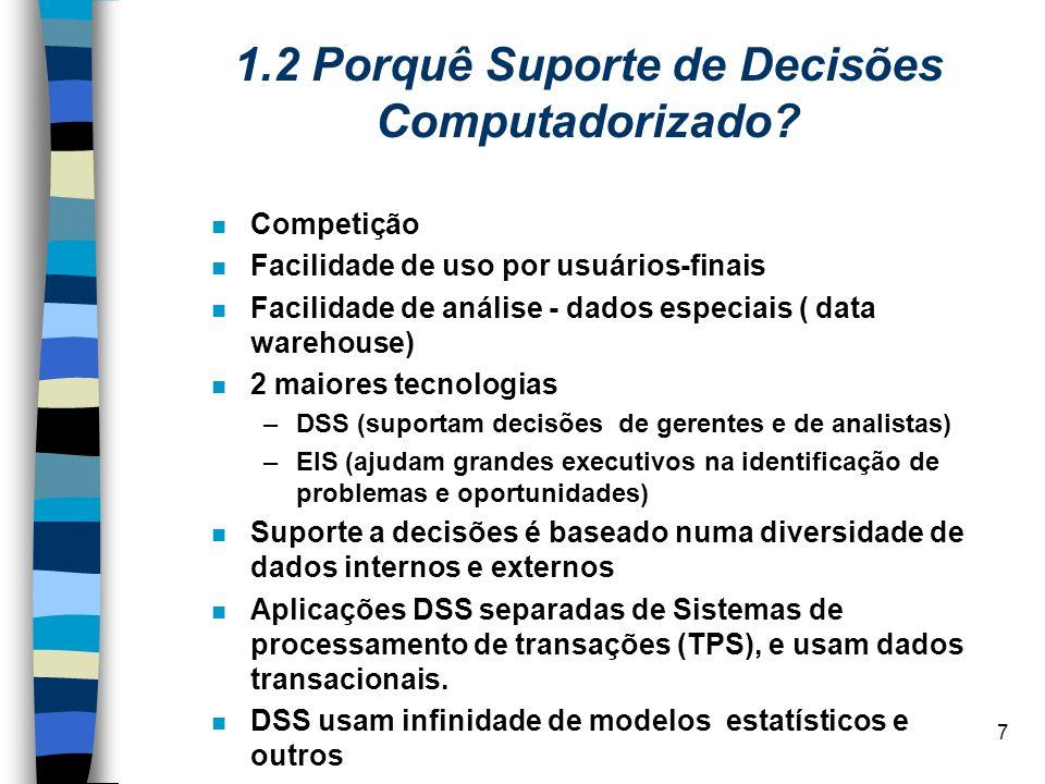 1.2 Porquê Suporte de Decisões Computadorizado
