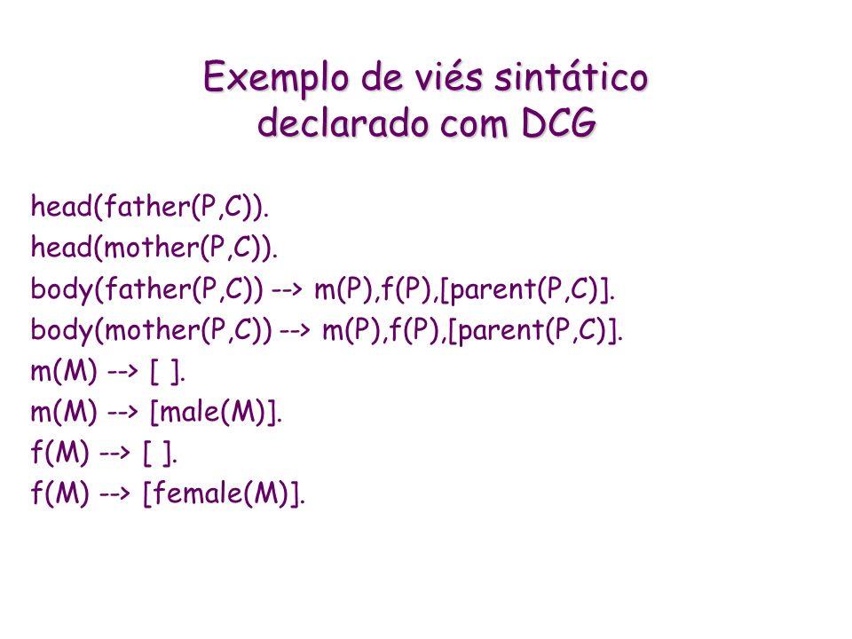 Exemplo de viés sintático declarado com DCG