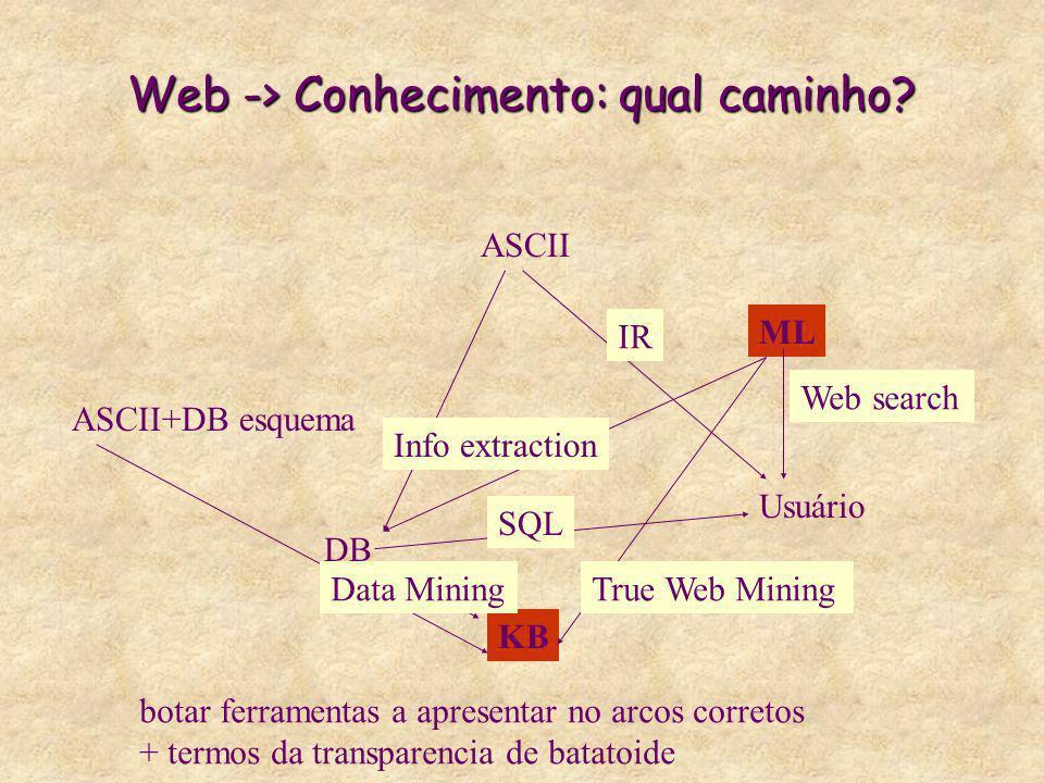 Web -> Conhecimento: qual caminho