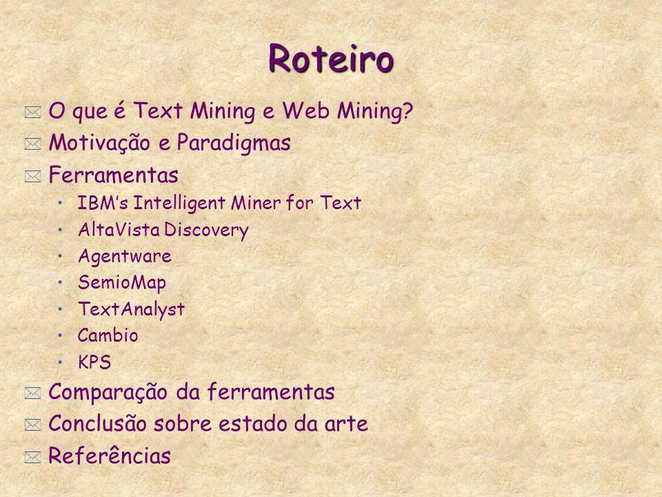 Roteiro O que é Text Mining e Web Mining Motivação e Paradigmas