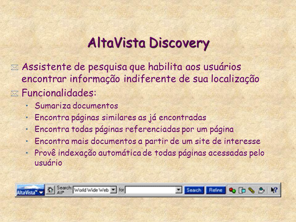 AltaVista Discovery Assistente de pesquisa que habilita aos usuários encontrar informação indiferente de sua localização.