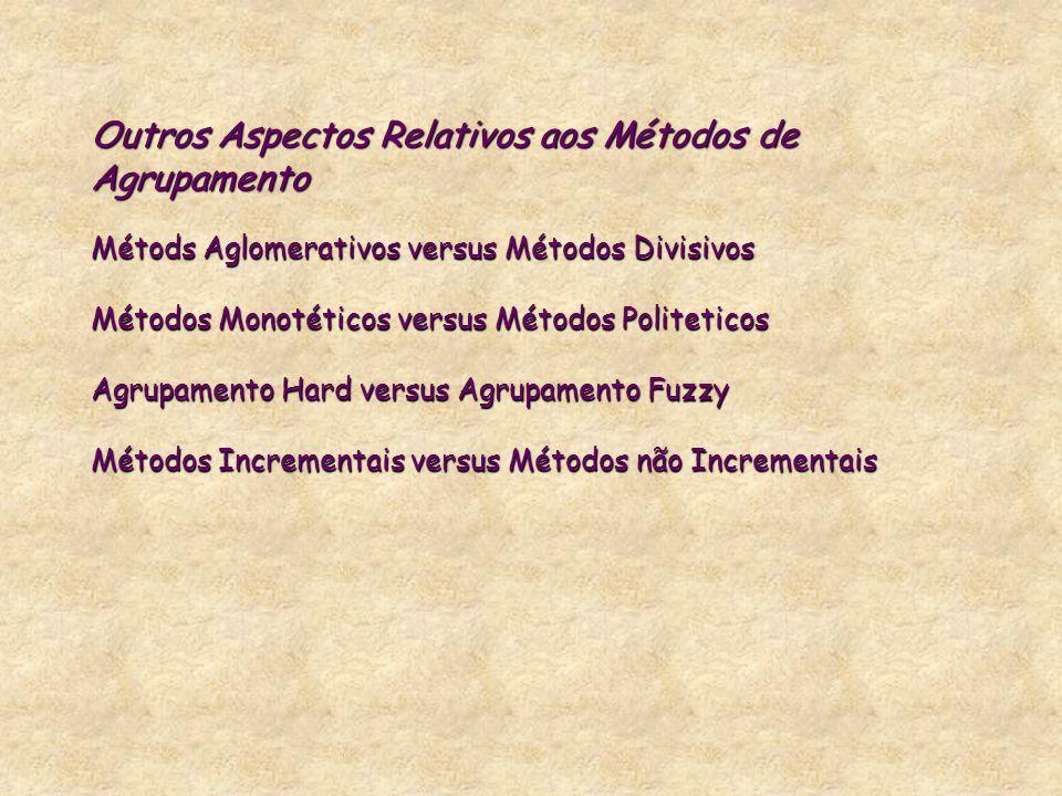 Outros Aspectos Relativos aos Métodos de Agrupamento Métods Aglomerativos versus Métodos Divisivos Métodos Monotéticos versus Métodos Politeticos Agrupamento Hard versus Agrupamento Fuzzy Métodos Incrementais versus Métodos não Incrementais