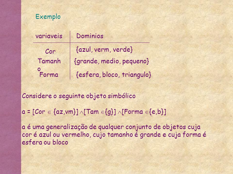 Exemplo variaveis. Dominios. {azul, verm, verde} Cor. Tamanho. {grande, medio, pequeno} Forma.