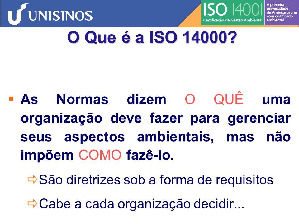 O Que é a ISO 14000 As Normas dizem O QUÊ uma organização deve fazer para gerenciar seus aspectos ambientais, mas não impõem COMO fazê-lo.