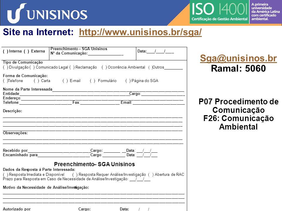 P07 Procedimento de Comunicação F26: Comunicação Ambiental
