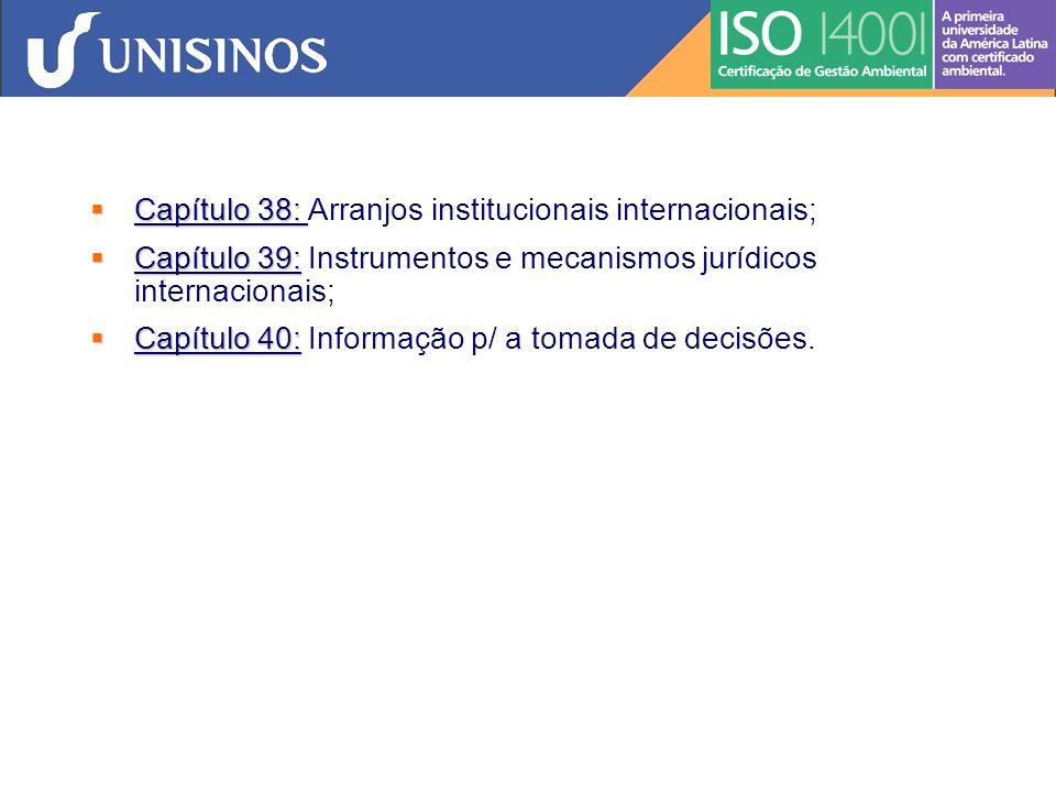 Capítulo 38: Arranjos institucionais internacionais;