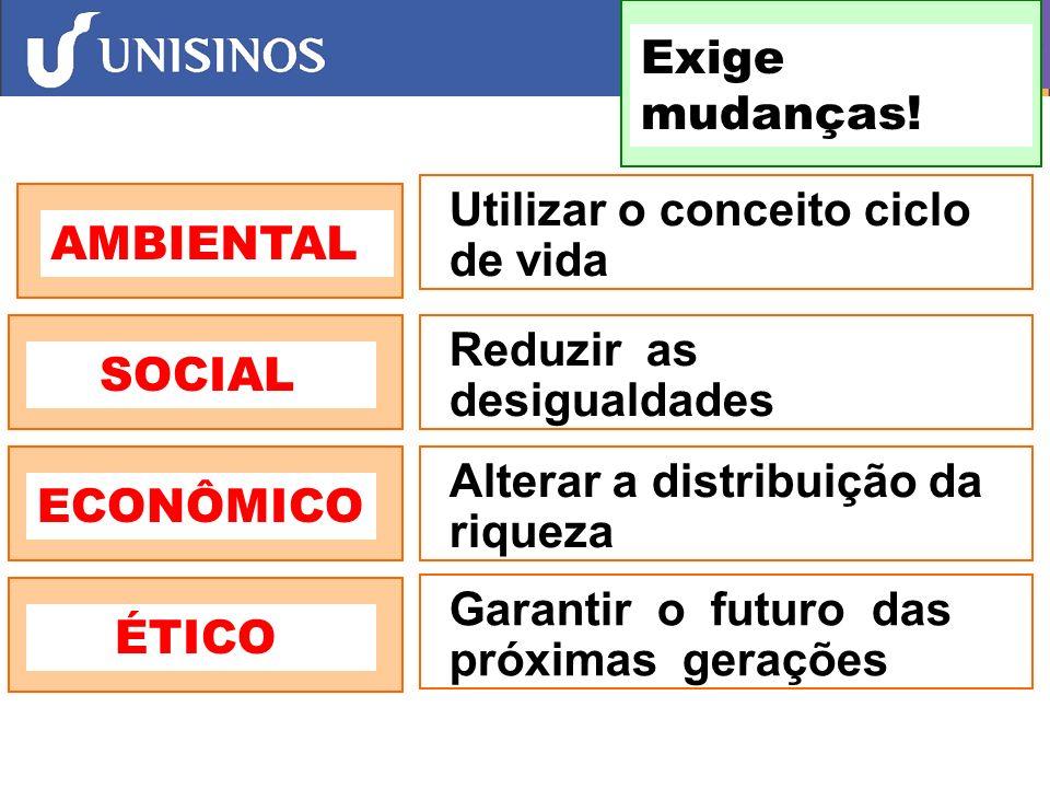 Exige mudanças! Utilizar o conceito ciclo de vida. AMBIENTAL. SOCIAL. Reduzir as. desigualdades.