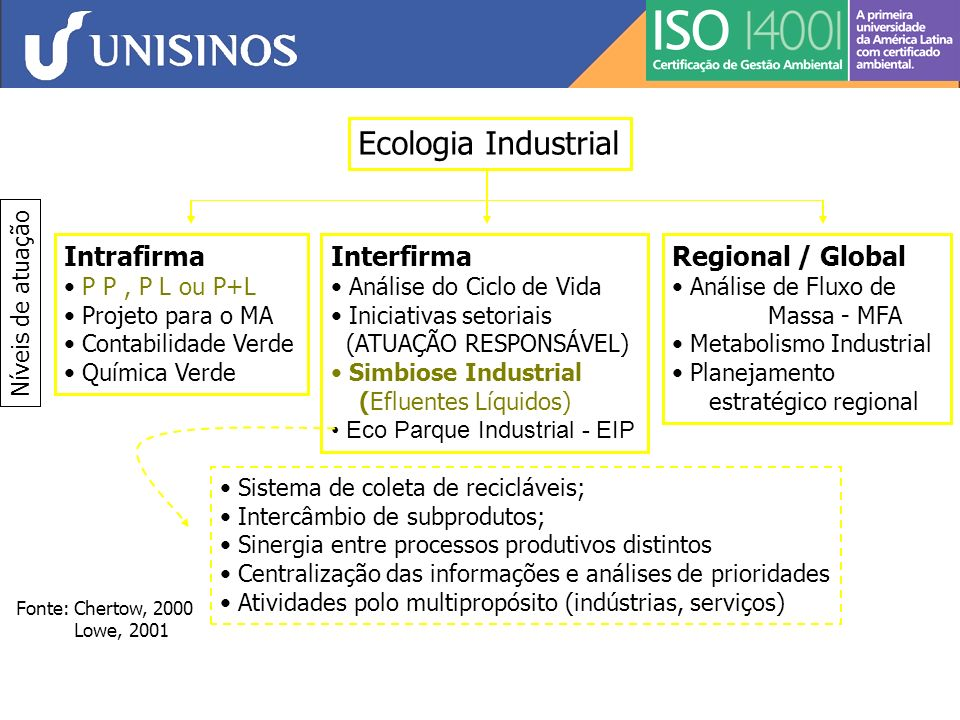 Ecologia Industrial Intrafirma Interfirma Regional / Global