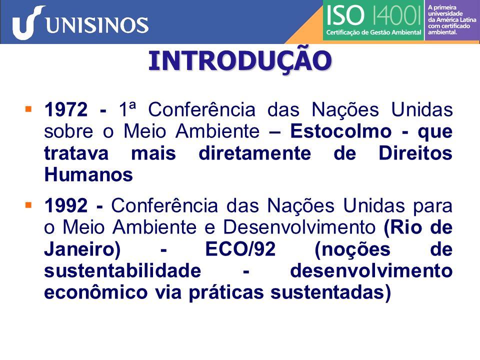 INTRODUÇÃO 1972 - 1ª Conferência das Nações Unidas sobre o Meio Ambiente – Estocolmo - que tratava mais diretamente de Direitos Humanos.