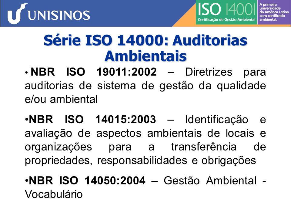 Série ISO 14000: Auditorias Ambientais