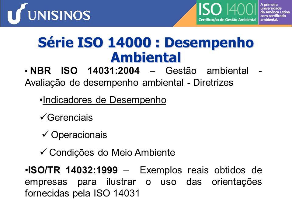 Série ISO 14000 : Desempenho Ambiental