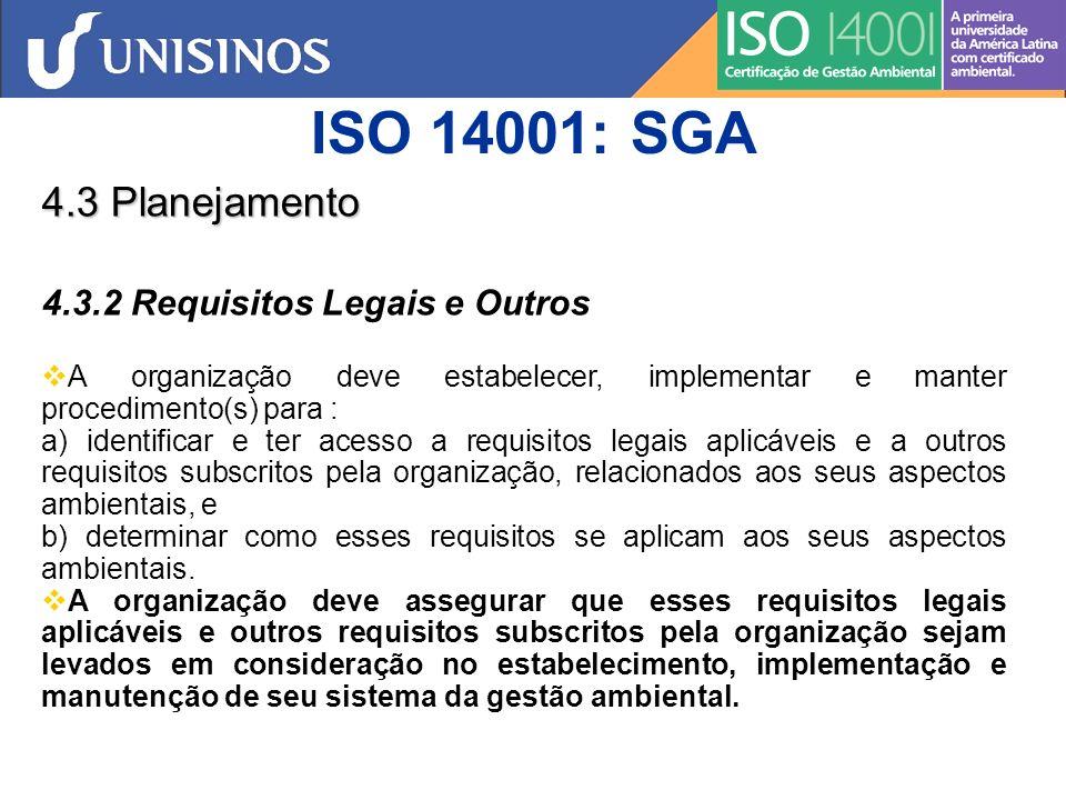 ISO 14001: SGA 4.3 Planejamento 4.3.2 Requisitos Legais e Outros